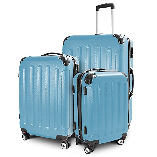 BERWIN Kofferset 3-teilig Reisekoffer Trolley Hartschalenkoffer ABS Teleskopgriff (Himmelblau)