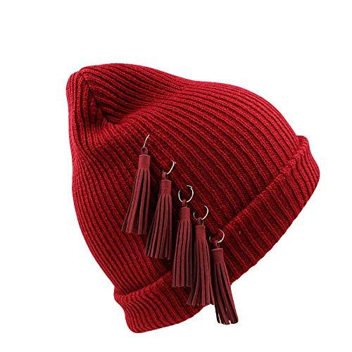 Bonnet Unisexe Chapeau tricoté Homme Beanie Hats, Femmes Chapeau d'hiver Noir FashionKnit Fille Casquettes Bonnets Chaud Neige Chapeaux pour Femme Gorro Best @ Rouge