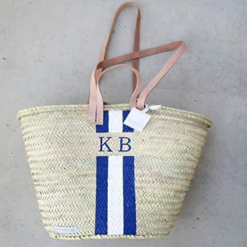 Personalisierbare Korbtasche mit Monogramm - Blau - Weiß - Leder Henkel | Geschenk für Sie Korb Strandkorb Einkaufskorb Ibizakorb