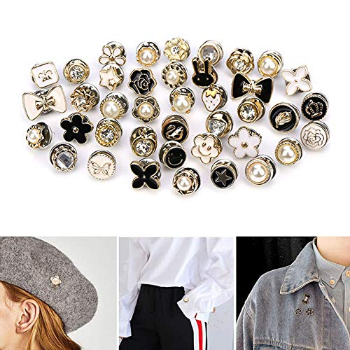 ALHONLY 40 Style Cute Enamel Lapel Pin Set,Mini Brooch Pin Badges Cover Up Buttons for Women Shirts,Dresses,Cardigan Collar Safety Pins,Cuff Links,Clothing Bags Accessories Supplies DIY Crafts