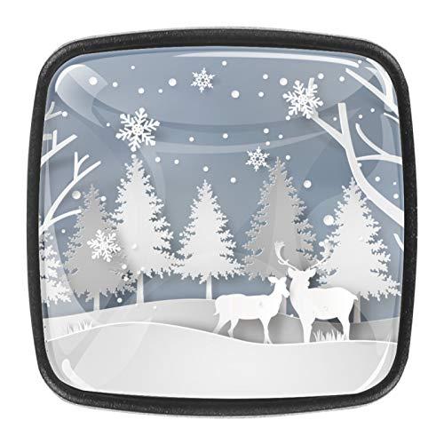 Pomo de cristal cuadrado de muñeco de nieve de Navidad para armario de cristal, mango de cajón, con tornillos, para gabinete de oficina en casa (0,4 piezas)