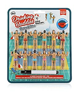 Drinking Buddies Classic Themed Reuseable Glass Drink Markers, 12 by NPW- USA
