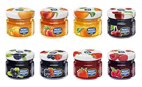 Menz&Gasser - Marmellatine Extra Monodose Assortite 40 Pezzi x 28 Grammi in Barattolini di Vetro Monoporzione. Assortimento di 8 Gusti