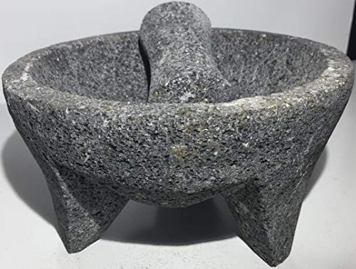 "Made in Mexico Genuine Mexican Manual Guacamole Salsa Maker Volcanic Lava Rock Stone Molcajete/Tejolote Mortar and Pestle Herbs Spices Grains 7"" Large"
