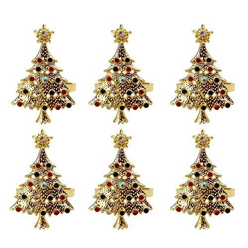 Juego de 6 anillos de servilleta para árbol de Navidad, 6 unidades, para decoración de mesa de comedor (árbol de Navidad)