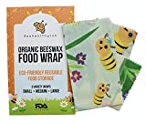 Organic Beeswax Food Wrap by BeeHealthy Lab, Set of 3 Reusable Storage Wraps, Alternative Covers for Sandwich, Cheese, Avocado, Bread and Bowls, Zero Plastic, Biodegradable, Sustainable Bee's Cloth