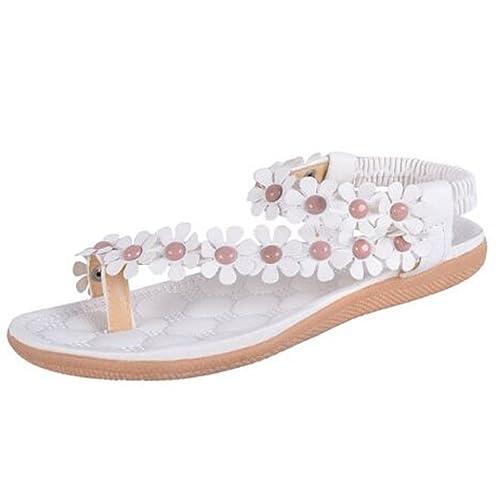 dee7e34e30fcf OURS Women s Bohemia Flower Beads Flip-Flop Shoes Flat Sandals