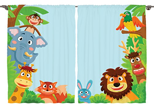 Cute Cartoon Jungle  Animal Curtains