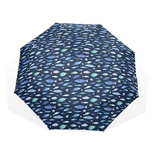 LASINSU Regenschirm,Fische Aquarium Silhouetten drucken,Faltbar Kompakt Sonnenschirm UV Schutz Winddicht Regenschirm
