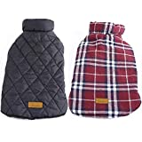 Kuoser Cozy Waterproof Windproof Reversible British Style Plaid Dog Vest Winter Coat Warm Dog A…