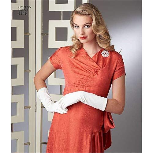 Simplicity Muster 8249R5Schnittmuster Vintage 1940er-Gewand und Kleid, weiß, Größen 14–16–18–20–22