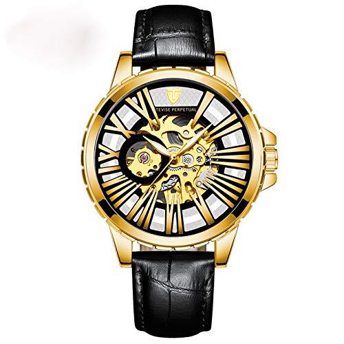 YiLuFanHua Relojes Hombre Negocios Luminoso Impermeable Reloj Banda De Cuero Analogicos Fecha De Pulsera Regalo Elegante,Golden White