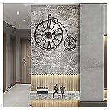 Orologio con numeri romani, orologio da parete silenzioso e senza ticchettio in stile pastorale per bicicletta da casa retrò, orologio al quarzo elegante con bar da soggiorno creativo,Nero,76x66cm