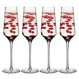 DONGTAISHANGCHENG Bicchieri di Flauto Scintillante Champagne 4 Pezzi in Fondo a Tazza con Un Pezzo Senza Soluzione di continuità, Adatto per Cabinet disinfezione lavastoviglie 290ml.