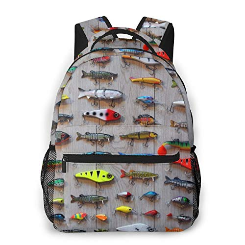OMNPL The Best Bait for Fishing Laptop Backpack,School Backpack for Men Women,Lightweight Travel Casual Durable Daily Daypack College Student Rucksack 11.5in X 8in X 16in
