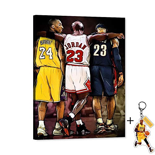 Michael Jordan Kobe Bryant LeBron James Canvas Wall Art 23th 24th NBA Super Star Forever Legend Picture Artwork for Home Decor, Michael Kobe LeBron Canvas Print for Men Boys Bedroom Decor (18'Wx24'H)