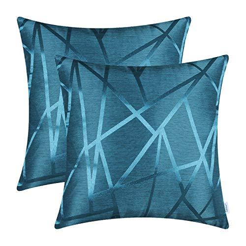 CaliTime - Confezione da 2 federe per cuscini da divano, decorazione per la casa, stile moderno, lucide, con motivo geometrico con triangoli a contrasto e linee geometriche, Blu mare, 45 cm x 45 cm