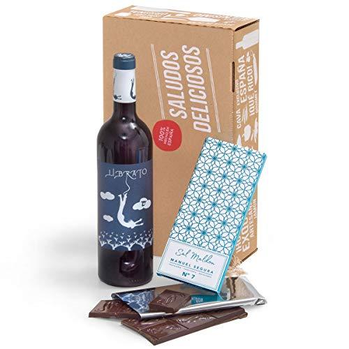 Genießer-Geschenk - Spanischer Rotwein & dunkle Schokolade | Geschenk-Klassiker für Gourmets und Liebhaber edler Tropfen | Geschenkfertig verpackt in der Leckere-Grüße-Geschenk-Box