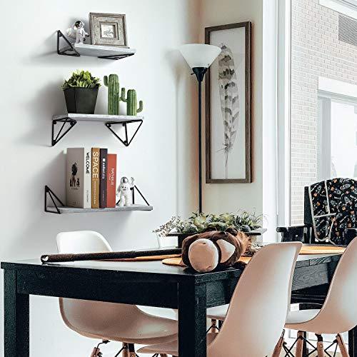 BAYKA Floating Shelves Wall Mounted Set of 3, Rustic Wood Wall Shelves for Living Room, Bedroom, Bathroom Gray