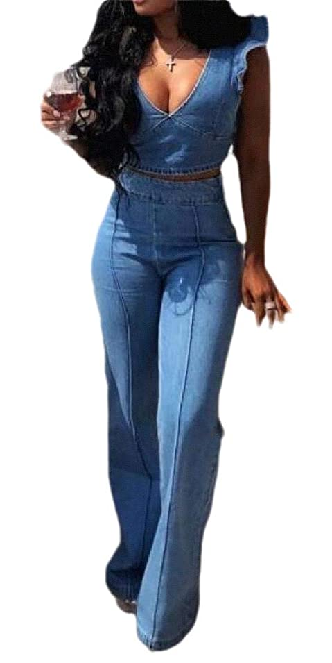 割り当て肥料ぴったりWomen 2 PCS Crop Top High Waist Long Pant Sexy Nightclub Denim Set