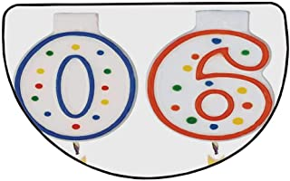 90th Birthday Decorations Comfortable Semicircle Mat,Party Preparations Candles Number Ninety in Red and Blue for Living Room,25.9