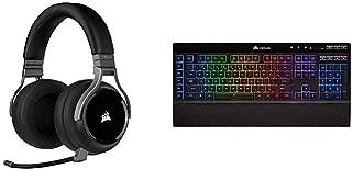 Corsair Virtuoso RGB Wireless Gaming Headset - High-Fidelity 7.1 Surround Sound - Carbon & K57 RGB Wireless Gaming Keyboard - <1ms Response time with Slipstream Wireless - Black