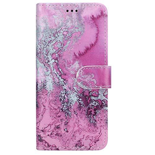 Surakey Cover Samsung Galaxy J5 2016, Serie di Marmo Flip Portafoglio Magnetica Cover Porta Carte Wallet Case in PU Pelle Pieghevole Stand Protettiva Cover a Libro per Galaxy J5 2016,Onda Rosa