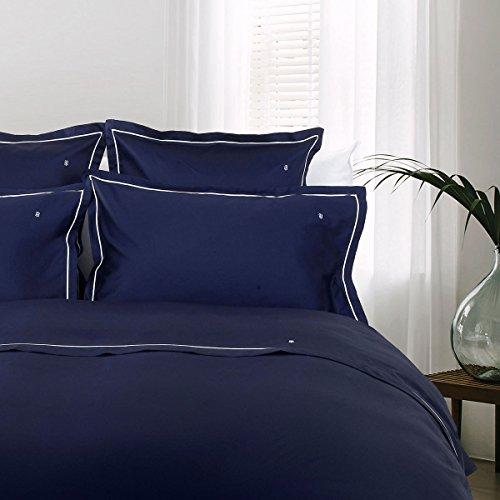 Tommy Hilfiger Juego de cama de satén Mako, color azul marino, 1 funda nórdica de 200 x 200 cm y 2 fundas de almohada de 80 x 80 cm