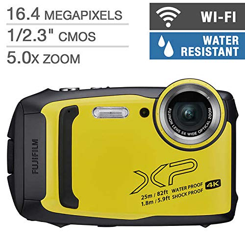 FUJIFILM Finepix XP140 with 4K & WiFi, Water-Proof, Shock-Proof Rugged Outdoor, 16.4 MP BSI-CMOS Sensor, 5X Optical Zoom, Digital Camera Bundle