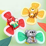 Abendedian Baby Child Bath Suction Cup Spinning Tops Toy Animal Turntable Spinning Windmill Stress Relief Frisbee Creative Educational Toys (3Pcs-Fox Lion Bear)