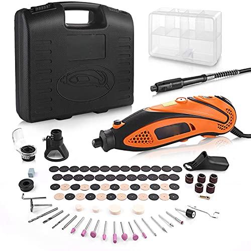 Multifunktionswerkzeug, 135W Drehwerkzeug, einstellbare Drehzahl mit 80 Zubehör und 4 Aufsätze, Biegsame Welle für Heimwerkerarbeiten (Orange)