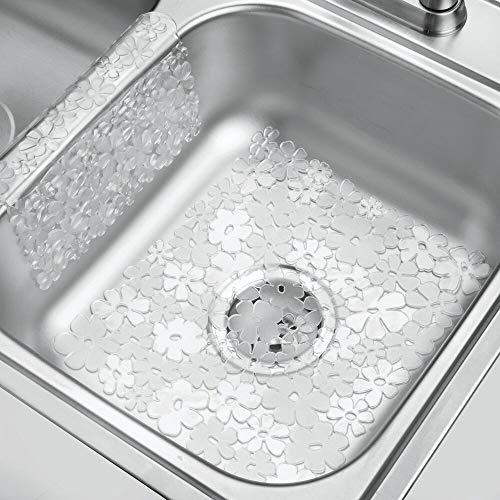 mDesign Decorative Kitchen Sink Protector Mat Pad Set, Quick Draining...