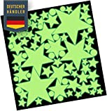 50 + 25 Stück Bonus selbstklebende Leuchtaufkleber Leuchtsterne im Dunkeln leuchtend - mit starker Leuchtkraft - Stark Fluoreszierend Nachtleuchtend - Leuchtsterne, MARKENFOLIE AUS DEUTSCHLAND