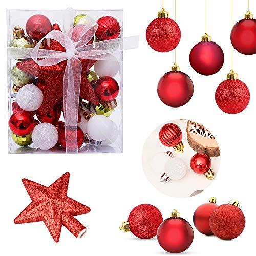 SUNSK Palle di Natale Plastica Decorazioni Albero di Natale Addobbi Natalizi Ornamento Festa Glitter Christmas Balls 30 PCS