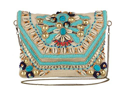 MAYA handbags Cartera ESTELA III para Mujer-Beige y Turquesa
