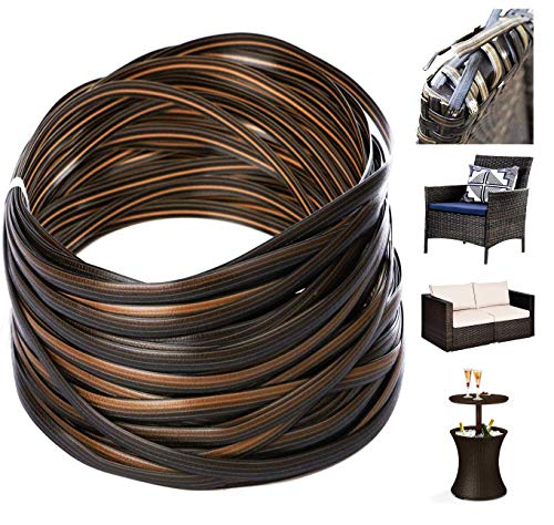 Rattan Repair MaterialSynthetic Wicker Furniture Fix Kit Gradiant Coffe Brown Flat Plastic Weaving Material for housing Rattan Furniture and Garden Chair Basket Patio Conversation Furtinue35m120ft
