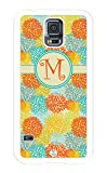 iZERCASE Samsung Galaxy S5 Case Monogram Personalized Yellow and Orange Seamless Pattern One Initial RUBBER CASE - Fits Samsung Galaxy S5 T-Mobile, Sprint, Verizon and International (White)