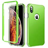 SKYLMW Case for iPhone Xs MAX 6.5 inch, [Built in Screen Protector] Full Body Shockproof Dual Layer High Impact Protective Hard Plastic & Soft TPU with Cover Cases for iPhone Xs MAX 2018,Light Green