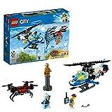 LEGO City PoliziaAereaall'InseguimentodelDrone, Elicottero Giocattolo con Lancia-reti,Set di Costruzioni per Bambini, 60207