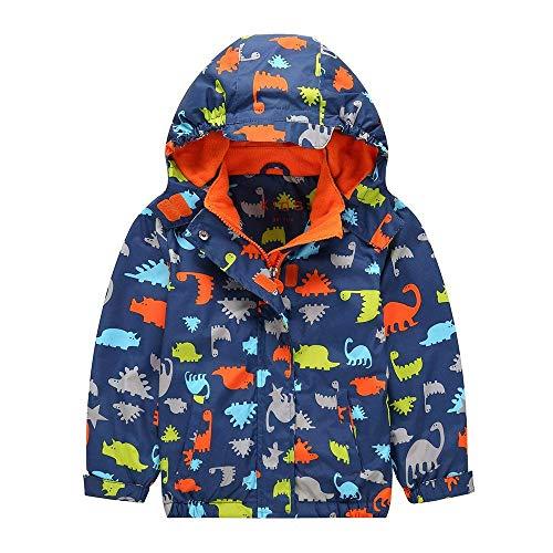 G-Kids Kinder Jungen Wasserdicht Jacke Übergangsjacke Warm Fleece Wasserdicht Winddicht Wanderjacke Outdoorjacke Regenjacke mit Kapuze 122/128
