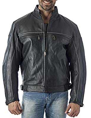 REED Mens Vented Leather Motorcycle Jacket with Light Reflector (Large-Tall) Black