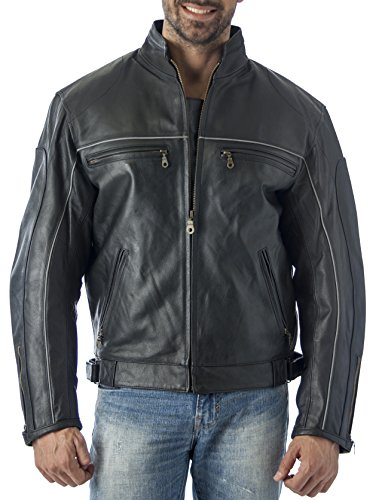 REED Mens Vented Leather Motorcycle Jacket with Light Reflector Strips on Front & Back (L) Black