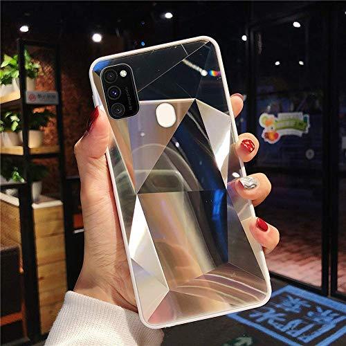 Uposao Kompatibel mit Samsung Galaxy M30S Hülle Spiegel Schutzhülle Bling Glänzend Glitzer Kristall Strass TPU Silikon Handyhülle Weiche Silikon Rückseite Glitzer Hülle Case Tasche,Silber