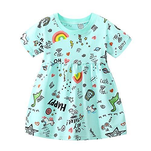 Julhold Vestido de manga corta para niña con dibujos animados del alfabeto arcoíris