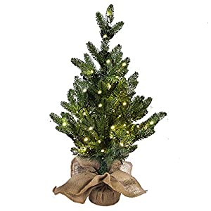 MorTime 24 Inch Mini Artificial Christmas Tree with 50 LED Lights, 2 ft Table Top Christmas Pine Tree 29 Tips with Burlap Wooden Base, Christmas Winter Home Decorations