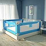 Toddler Bed Rails for Kids Baby Twin Child, Full Size Bed Fence Bumper Rail Guard for King Queen,One Side77.55' x 27' Blue