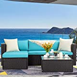 LEMBERI 5 Pieces Outdoor Furniture Patio Conversation Sets, All Weather Wicker Sectional Sofa Couch Lawn Sectional Furniture with Washable Couch Cushions and Glass Table(Tiffany Blue/Black)