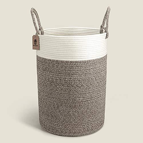INDRESSME Wäschekorb geflochten aus Baumwolle Seil Korb mit Griffen Groß Aufbewahrungskorb von Spielzeug im Kinderzimmer Decken im Wohnzimmer,D40 x H50 cm
