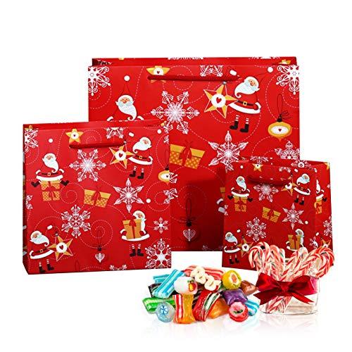 NIUPSKY 12 Pezzi Sacchetti Regalo di Natale Carta Kraft,Sacchetti Carta con Manici 3 Dimensioni (4pz Cadauno) Buste di Carta a Tema Natalizio - Buste Carta con Manico per Regali e Feste di Natale