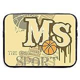 MS Sport Basketball Bolsas para computadora portátil Compatible con Tableta Netbook de 15 ″, Maletín con Funda de Pringting Funda de Transporte con Funda para Bolso